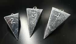 Pyramid Sinkers Lead Surf Fishing Weights - Choose Size - Free Shipping
