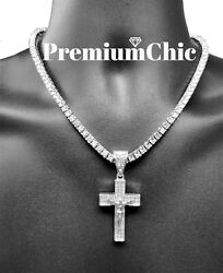 Jesus Cross Pendant 5MM Tennis Chain Necklace Choker Mens Hip Hop Jewelry Silver $14.99