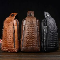 Style Men#x27;s Leather Chest Sling Bag Crossbody Backpack Daypack Purse Crocodile $23.99