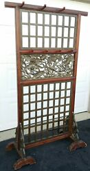 Vintage Wooden Room Divider W Relief Panels Asian Style Birds Lotus 69h