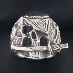 Men's Biker Pirate Skull W/ Eye Patch And Knife In Sterling Silver Ring Size 10.25