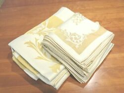 Beautiful Cotton And Rayon Formal Tablecloth With 12 Matching Napkins Gold Accent