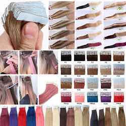 16inch Tape In Remy Human Hair Extensions 7a 40cm Seamless Pu Skin Weft