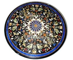 48 Inches Round Marble Dining Table Top Floral Pattern Office Meeting Table Top