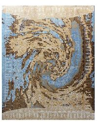 8and039x10and039 Rug | Indian Hand Knotted Luxury Wool And Viscose Multi Area Rug