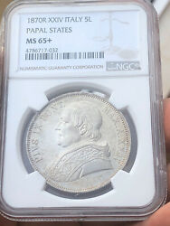 Ngc Ms65+ Italy 1870r Papal States Silver 5 Lire