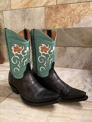 Old Gringo Black Turquoise Inlay Size 8.5 Cowboy Western Boots Short