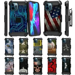 For Apple Iphone 12 Pro Max 6.7 Full Body Armor Rugged Holster Belt Clip Case