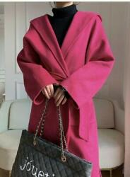 Womens 100 Cashmere Wool Double Side Mid Long Jackets Trench Coats Lady Hooded