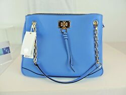Tory Burch Eve Tote Shoulder Bag Blue Pebbled Leather NWT $195.00