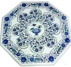 42 Inches Marble Living Room Table With Lapis Lazuli Stone Art Dining Table Top