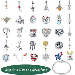 Bisaer Women Girls Authentic S925 Sterling Silver Beads Charms Gifts Presents Us