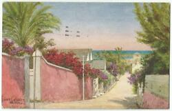 Nassau Bahamas West Street With Affixed 1d Stamp 1931