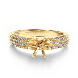 Real Diamonds Fashion Design Semi Mount Ring Round 6mm-7mm Solid 18k Yellow Gold
