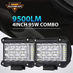 Tri-row 4inch Side Shooter Led Light Bar Offroad 4wd Driving Fog Lamp Auxbeam