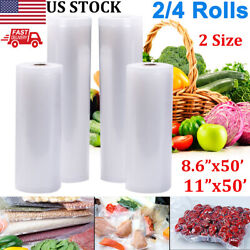 2/4 Rolls Vacuum Food Sealer Bags 8.6x50and039/11x50and039 Food Save Storager Bpa Free