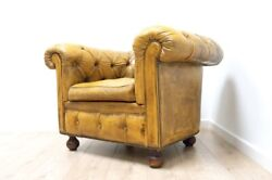 Antique Leather Victorian Chesterfield Club Chair Horsehair Filled /1442