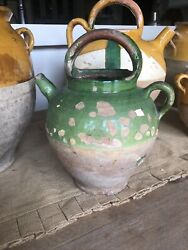 Antique French Clay Confit Wine/ Watergargoulette, C.1890-1910,green/terracotta