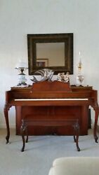 Rare Antique 1938 Gulbransen Queen Anne Upright Piano With Bench