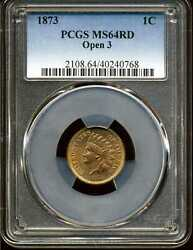 1873 Open 3 1c Indian Head Cent Ms64rd Pcgs 40240768