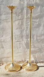 Pair 45 Brass Processional Candlesticks Torch / Acolyte And Base Stands 61spal