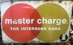 Vintage Master Charge Metal Sign 24 X 15 Interbank Card Credit 60s Two Sided 70s
