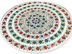 42 Inches Marble Living Room Table Top Multi Gemstones Dining Table Floral Art