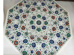 42 Inches Semi Precious Stone Inlay Dining Table Top Marble Island Table Top