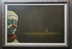 Rodney Evans Bacon Original Oil Painting What Can I Say Sad Clown Mcm