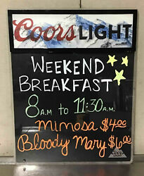 Coors Light Beer Dry Erase Menu Board Sign 19x24 Lighted Specials Write On