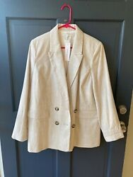 Topshop Saturday Double Breasted Oversized Blazer Cream Us 10 New With Tags