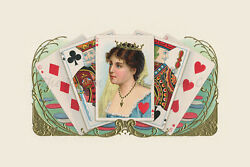Queen Of Hearts Playing Cards Poker Victorian Antique Home Wall Decor Art Print