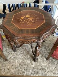 Antique R.j. Horner Wood Inlay Center Table C1800andrsquos Excellent Condition