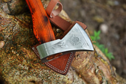 Hand Forged Viking Axe Camping Axe Throwing Carbon Steel Tomahawk With Sheath Us