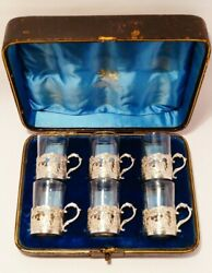 1890 Cased Set Of 6 Sterling Silver And Glass Whiskey Tots - Atkin Brothers