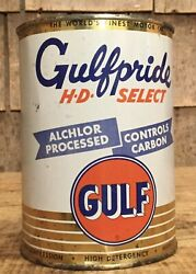 Vintage Nos 1 Qt Gulf Gulfpride Hd Select Motor Oil Tin Can Unopened W Content