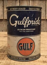 Vintage 1 Qt Gas Service Station Gulfpride Gulf Motor Oil Tin Can