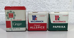 3 Vintage Spice Tin Can Lot Mccormick Allspice Paprika Ann Page Ginger