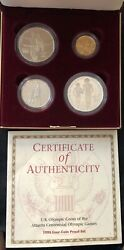 1995 Us Olympic Coins Atlanta Centennial Games Set 5 Gold, Two 1, And 50c