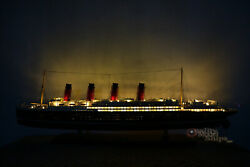 Rms Lusitania With Lights Cunard Line Ocean Liner Wooden Ship Model 40