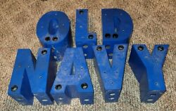 Vintage Metal Lettering 7x5and039 Blue Old Navy Letters Signage Advertising