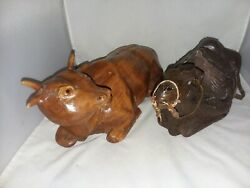 Hand Carved Wood Large Cow And Camel Vintage Primitive Nativity Christmas