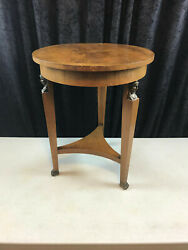 Vintage Baker Furniture Wood Round Table W 3 Brass Lady Cameos And Animal Paw Feet