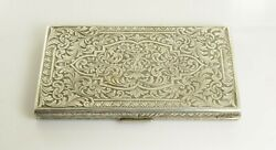 Vintage Hand Engraved Case Sterling Silver 800 Purity - 208g