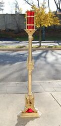 Gothic Solid Brass Standing Church Sanctuary Lamp 55 1/2 Ht. W/red Globe 61sl