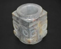 High Chinese Shang Dy Old Jade Carved God Person Design Cong Figure H 6.2
