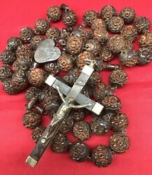 Antique Large Rosary Wood Carved Beads Habit Priest 44 Long Rare Crucifix Cross