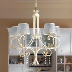 Hanging Chandelier Lamp Classic Wrought Iron Lamp Shades Leaves Crystals
