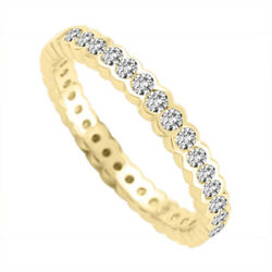 2.00 Ct Delicate Diamond Womenand039s Eternity Bridal Ring 14k Yellow Gold Size 6 7 8