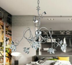 Hanging Chandelier Classic Wrought Iron Crystals Flowers Rhinestone Chrome Gold